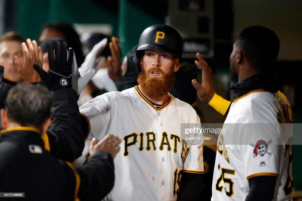 Colin Moran #19 of the Pittsburgh Pirates celebrates after hitting a sacrifice fly in the fifth inning against the Colorado Rockies at PNC Park on April 16, 2018 in Pittsburgh, Pennsylvania.
