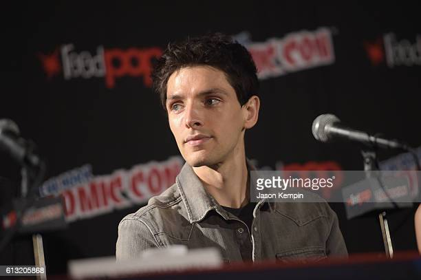 Colin Morgan speaks onstage at AMC HUMANS panel at New York Comic Con at Jacob Javitz Center on October 7 2016 in New York City
