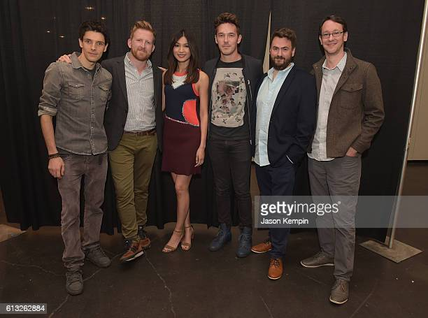 Colin Morgan Tom GoodmanHill Gemma Chan Sam Palladio Sam Vincent and Jonathan Brackley attends the AMC HUMANS panel at New York Comic Con at Jacob...
