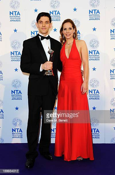 Colin Morgan winner of Drama Male Performance and presenter Darcey Bussell pose in the Winners room at the National Television Awards at 02 Arena on...