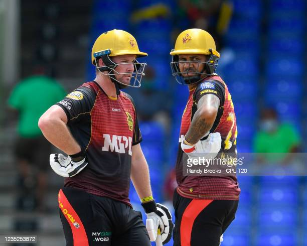 Colin Munro and Sunil Narine of Trinbago Knight Riders partnership during the 2021 Hero Caribbean Premier League Play-Off match 31 between Saint...