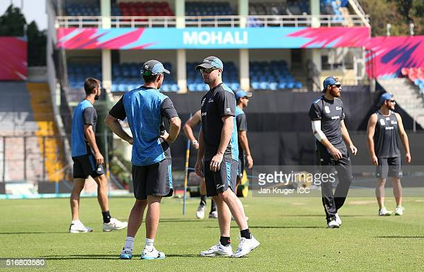 Colin Munro chats with Luke Ronchi during a training session at the IS Bindra Stadium on March 21 2016 in Mohali India
