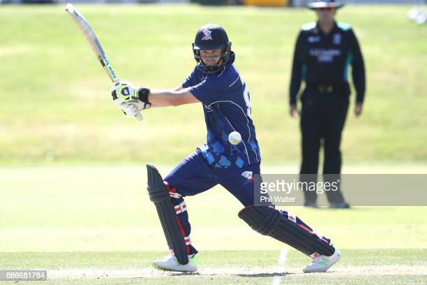 Colin Munro of Auckland bats during the Ford Trophy match between Auckland and Canterbury at Eden Park on December 6 2017 in Auckland New Zealand