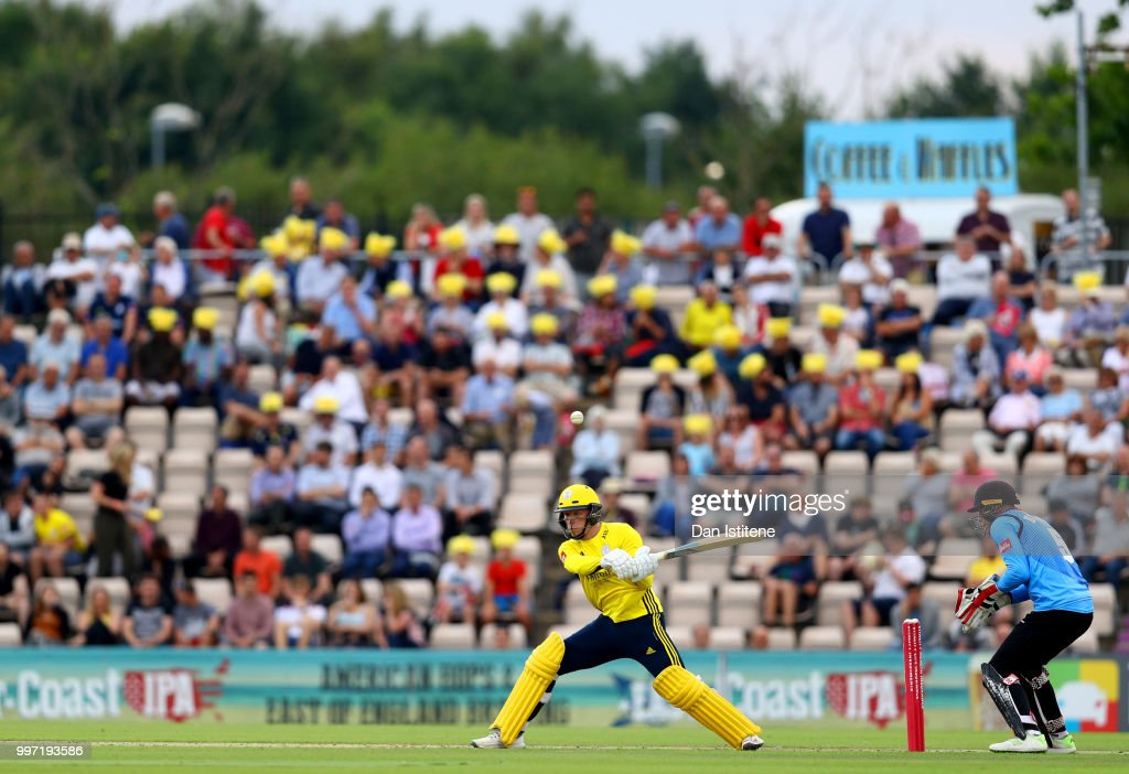 Colin Munro of Hampshire bats during the Vitality Blast match between Hampshire and Sussex Sharks at The Ageas Bowl on July 12, 2018 in Southampton, England.