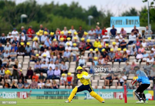 Colin Munro of Hampshire bats during the Vitality Blast match between Hampshire and Sussex Sharks at The Ageas Bowl on July 12 2018 in Southampton...