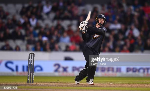 Colin Munro of Manchester Originals Men plays a shot during The Hundred match between Manchester Originals Men and Southern Brave Men at Emirates Old...