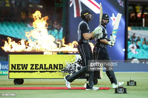 Colin Munro of New Zealand and Martin Guptill of New Zealand walk out to open the batting during game one of the International Twenty20 series...
