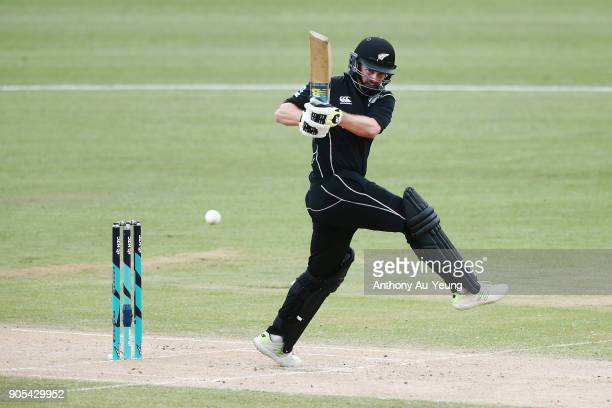 Colin Munro of New Zealand bats during game four of the One Day International Series between New Zealand and Pakistan at Seddon Park on January 16...
