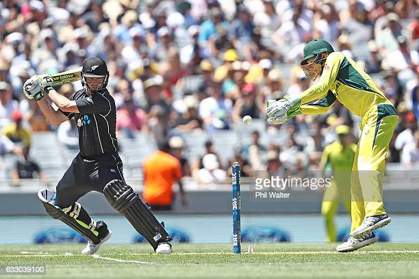 Colin Munro of New Zealand bats during the first One Day International game between New Zealand and Australia at Eden Park on January 30 2017 in...