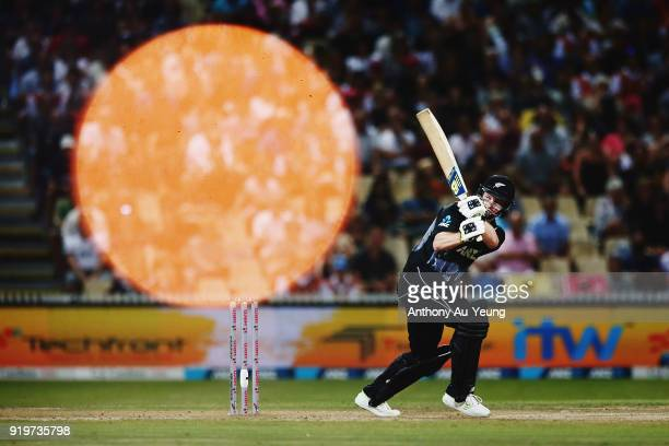 Colin Munro of New Zealand bats during the International Twenty20 match between New Zealand and England at Seddon Park on February 18 2018 in...