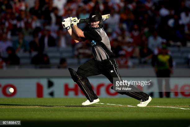 Colin Munro of New Zealand bats during the International Twenty20 Tri Series Final match between New Zealand and Australia at Eden Park on February...