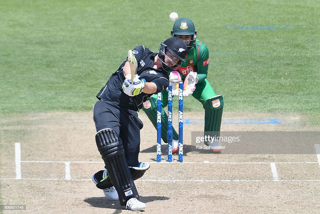 Colin Munro of New Zealand batting during the first One Day International match between New Zealand and Bangladesh at Hagley Oval on December 26, 2016 in Christchurch, New Zealand.