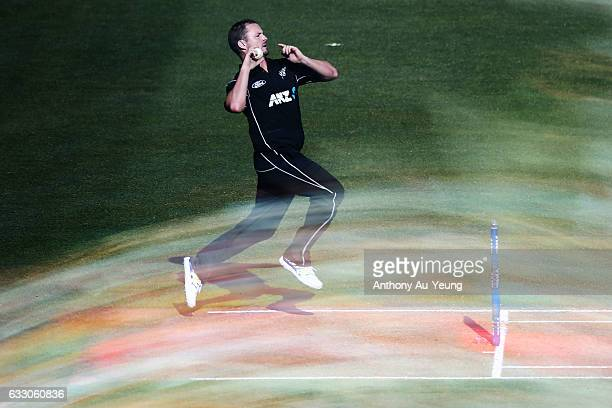 Colin Munro of New Zealand bowls during the first One Day International game between New Zealand and Australia at Eden Park on January 30 2017 in...