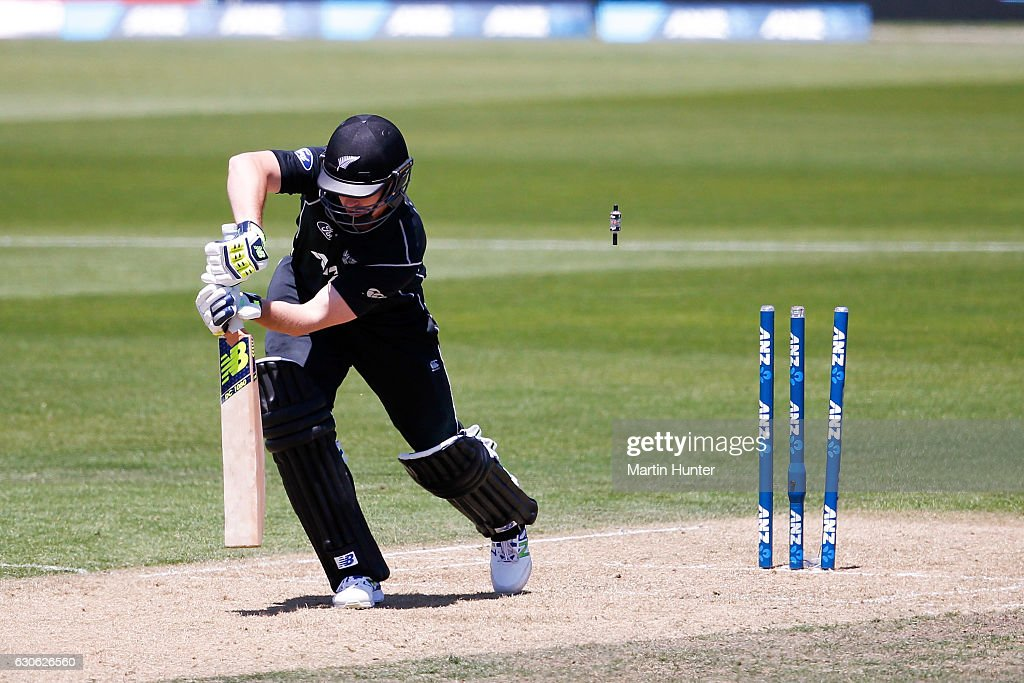 Colin Munro of New Zealand is bowled by Mashrafe Mortaza of Bangladesh during the second One Day International match between New Zealand and New Zealand and Bangladesh at Saxton Field on December 29, 2016 in Nelson, New Zealand.
