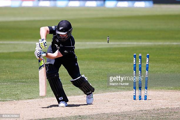 Colin Munro of New Zealand is bowled by Mashrafe Mortaza of Bangladesh during the second One Day International match between New Zealand and New...