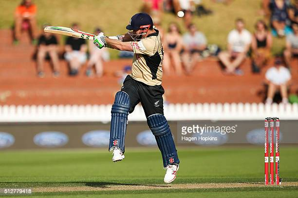 Colin Munro of North Island bats during the Island of Origin Twenty20 at Basin Reserve on February 28 2016 in Wellington New Zealand