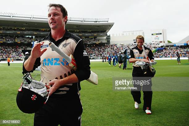 Colin Munro of the Black Caps acknowledges the crowd with Kane Williamson of the Black Caps after winning the Twenty20 International match between...