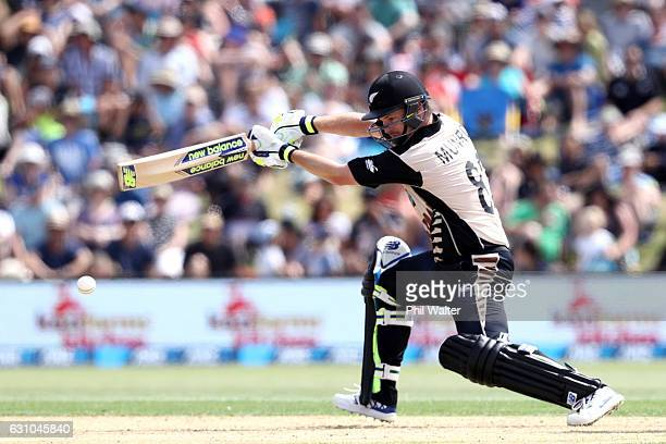 Colin Munro of the Black Caps bats during the second T20 international between New Zealand and Bangladesh at the Bay Oval on January 6 2017 in Mount...