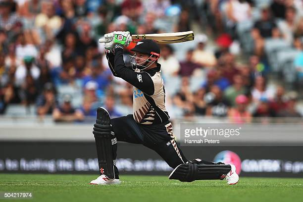 Colin Munro of the Black Caps plays the ball away for six runs during the Twenty20 International match between New Zealand and Sri Lanka at Eden Park...