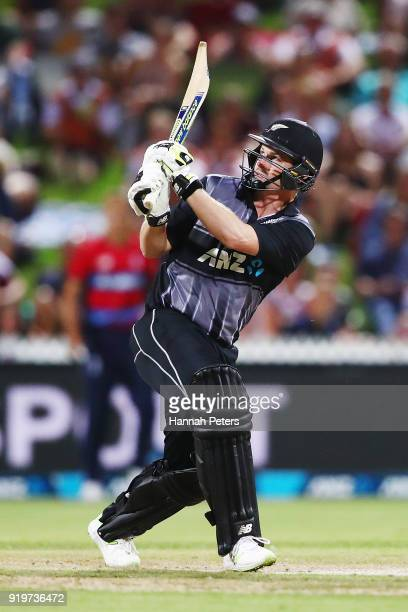 Colin Munro of the Black Caps plays the ball away for six runs during the International Twenty20 match between New Zealand and England at Seddon Park...