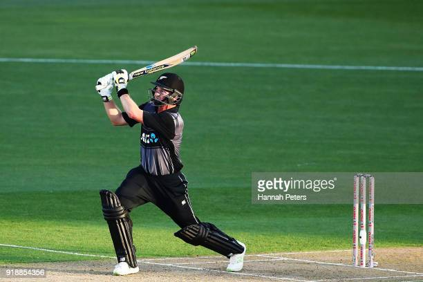 Colin Munro of the Black Caps pulls the ball away for six runs during the International Twenty20 match between New Zealand and Australia at Eden Park...
