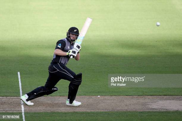 Colin Munro of the Blackcaps bats during the International Twenty20 match between New Zealand and England at Westpac Stadium on February 13 2018 in...