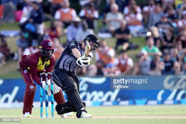 Colin Munro of the New Zealand Black Caps bats during game three of the Twenty20 series between New Zealand and the West Indies at Bay Oval on...