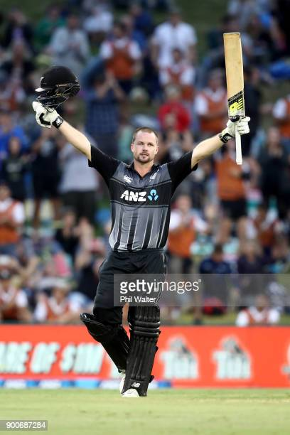 Colin Munro of the New Zealand Black Caps celebrates his century during game three of the Twenty20 series between New Zealand and the West Indies at...