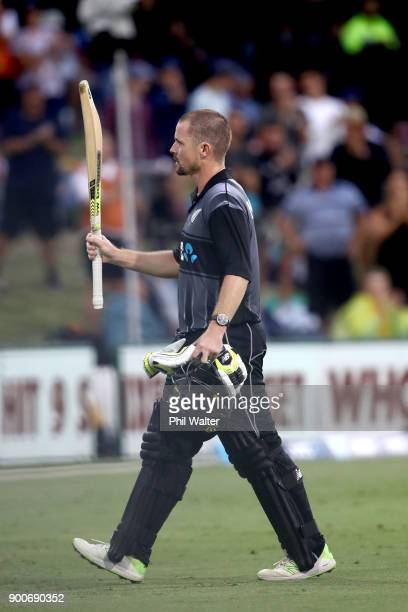 Colin Munro of the New Zealand Black Caps leaves the field during game three of the Twenty20 series between New Zealand and the West Indies at Bay...