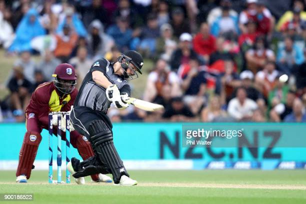 Colin Munro of the New Zealand Blackcaps bats during game two of the Twenty20 Series between New Zealand and the West Indies at Bay Oval on January 1...