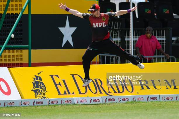 Colin Munro of Trinbago Knight Riders fielding during the 2021 Hero Caribbean Premier League Play-Off match 31 between Saint Lucia Kings and Trinbago...