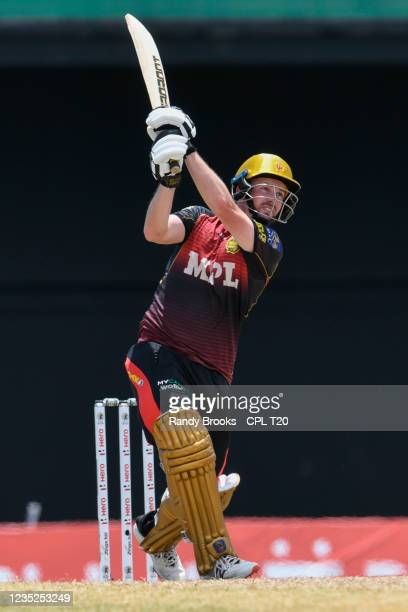 Colin Munro of Trinbago Knight Riders hits 6 during the 2021 Hero Caribbean Premier League Play-Off match 31 between Saint Lucia Kings and Trinbago...