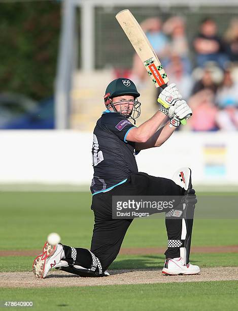 Colin Munro of Worcestershire pulls the ball during the NatWest T20 Blast match between Worcestershire Rapids and Northamptonshire Steelbacks at New...