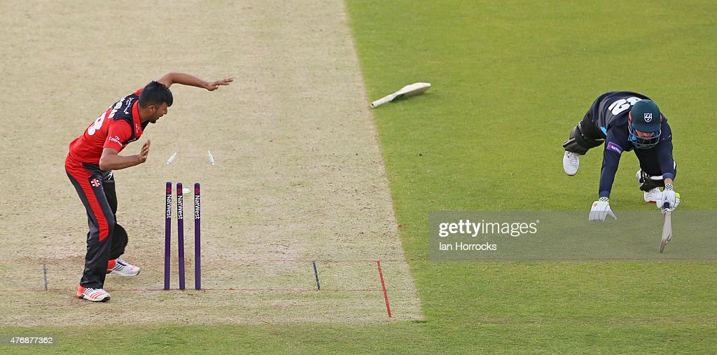 Colin Munro of Worsestershire (R) is run out during the NatWest T20 Blast match between Durham Jets and Worcestershire Rapids at The Emirates Durham ICG on June 12, 2015 in Chester Le Street, England.