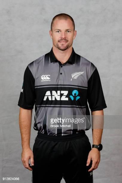 Colin Munro poses during the New Zealand International Twenty20 headshots session at Sydney Cricket Ground on February 1 2018 in Sydney Australia
