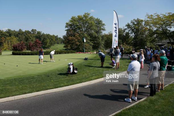 Colin Norton hits a putt during the boys 1011 putt competition during the Drive Chip and Putt Championship at Muirfield Village Golf Club on...