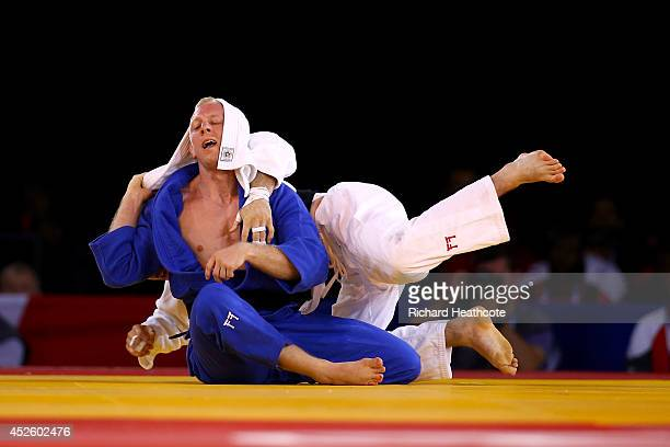 Colin Oates of England beats James Millar of Scotland in the Men's Judo 66kg semi final at SECC Precinct during day one of the Glasgow 2014...