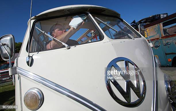 Colin Pace cleans the inside of his 1966 Volkswagen van at the 2009 Vanfest at the Three Counties Showground on September 13 2009 in Malvern Wells...