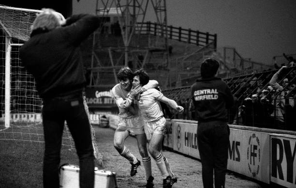 Colin Pates congratulates Alan Mayes on his goal in the FA Cup 3rd Round match between Huddersfield Town and Chelsea held on January 8, 1983 at Leeds...