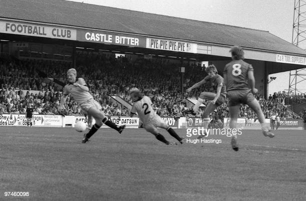 Colin Pates of Chelsea shoots at goal during the Football League Division Two match between Cambridge United and Chelsea held on August 28 1982 at...