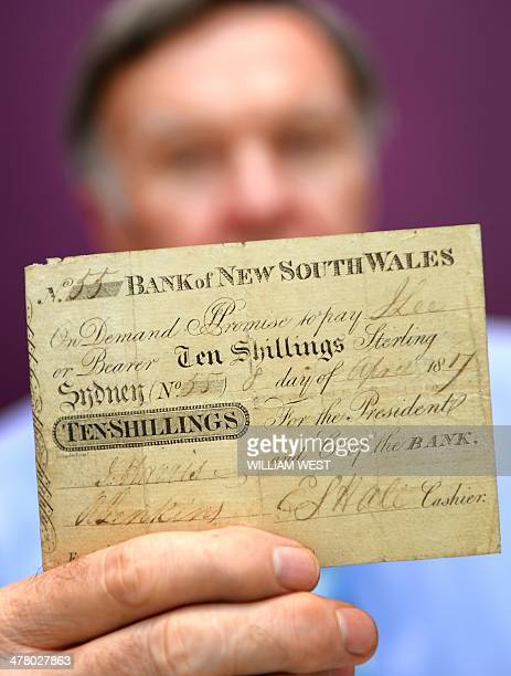 Colin Pitchfork a consultant at Noble Numismatics holds the only known specimen of the first official banknote issued in Australia uncovered in...