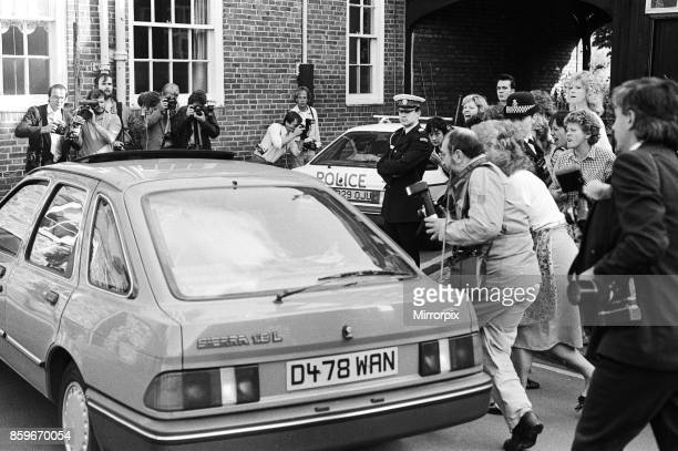 Colin Pitchfork accused of the rape and murders of the two Leicestershire teenage school girls Lynda Mann and Dawn Ashworth arrives to jeers from...