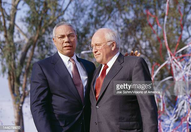 Colin Powell and Dick Cheney at a Bush/Cheney campaign rally in Costa Mesa, CA, 2000