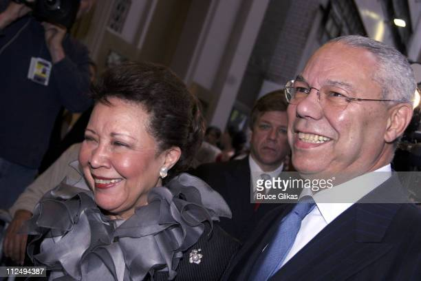 """Colin Powell and wife Alma Powell during """"On Golden Pond"""" Opening Night on Broadway - Arrivals at The Cort Theater in New York City, New York, United..."""