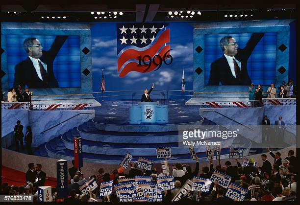 colin powell at 1996 republican convention - republican national convention stock pictures, royalty-free photos & images