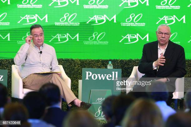 Colin Powell former US secretary of state and a board member of Bloom Energy Corp right speaks while Alberto Gomez Alcala executive director of...