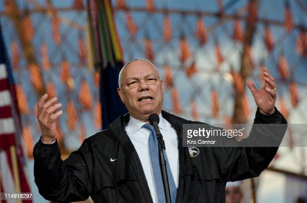 Colin Powell speaks during the 2011 National Memorial Day Concert rehearsal at US Capitol West Lawn on May 28 2011 in Washington DC