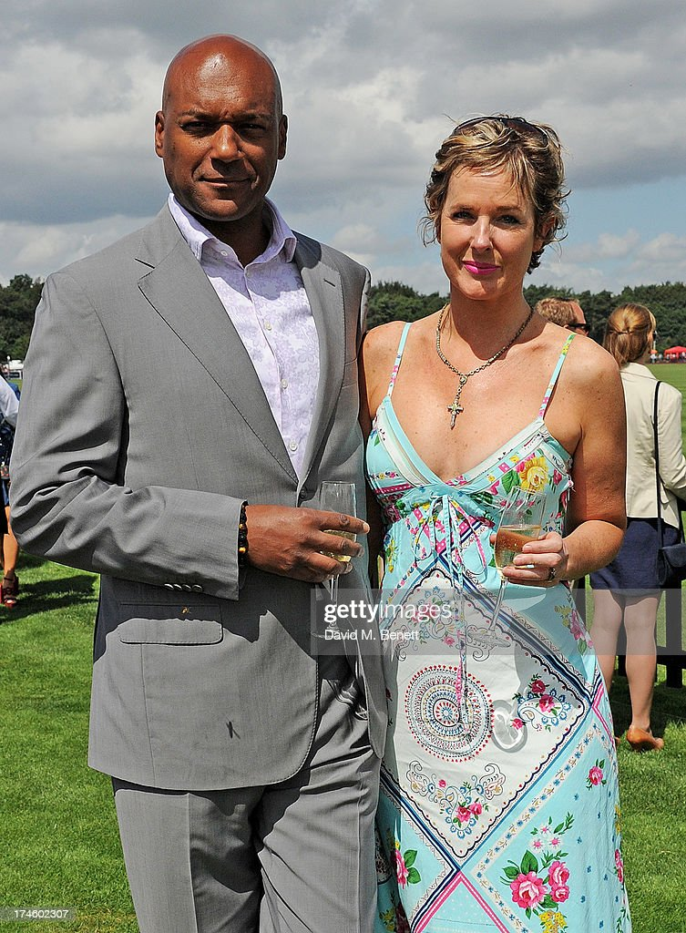 Colin Salmon (L) and Fiona Hawthorne attend the Audi International Polo at Guards Polo Club on July 28, 2013 in Egham, England.