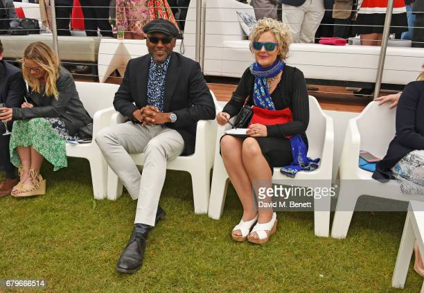 Colin Salmon and Fiona Hawthorne attend the Audi Polo Challenge at Coworth Park on May 6 2017 in Ascot United Kingdom