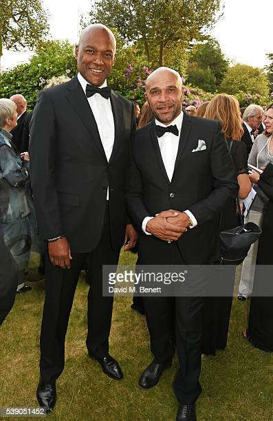 Colin Salmon and Goldie attend the Duke of Edinburgh Award 60th Anniversary Diamonds are Forever Gala at Stoke Park on June 9 2016 in Guildford...